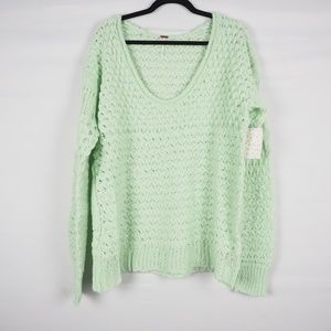 Free People Crashing Waves Pullover Mint Green